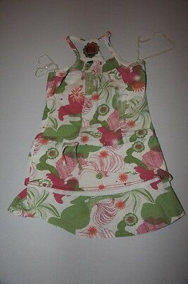 Fat Face - Girls dress - 2 years - White with green and pink patterns