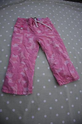 Girls Gap pink trousers with embroidered butterflies and elasticated waist -Age2