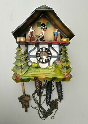 Cuckoo Clock West Germany Vintage E Schmeckenbecher Saw Mill Not Tested * Read