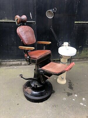 Very Rare Early 20th Century Childs Dental Dentist Chair + Trident, Tools etc