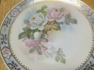 Hand painted Prussia Royal Rudolstadt Plate w/ Roses - Artist Signed F. Hahn