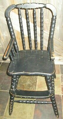 VTG Jenny Lind Wooden Highchair High Chair BOOSTER, NO TRAY BLACK BOOSTER
