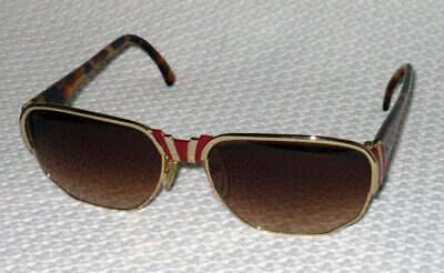 Vintage MAGADesigns Sunglasses Red & Gold Metal with Tortoise shell 3055D Italy