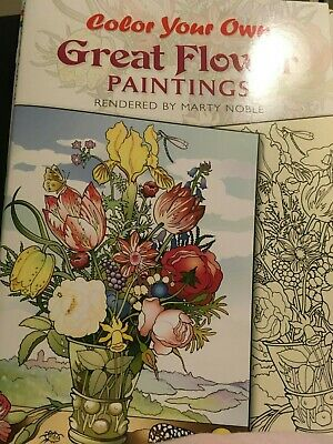 adult flower coloring book color your own  great flower paintings
