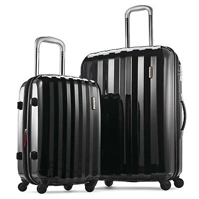 """NWT New Samsonite Prism Two Piece Hardside Expandable Spinner Set 20""""/28"""" Black"""