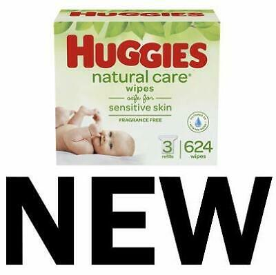 HUGGIES Natural Care Unscented Baby Wipes Sensitive 3 Refill Packs 624 Wipes in