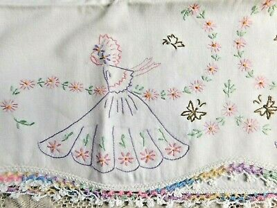 Vintage Pair Of Hand Embroidered Bonnet Girl Pillow Cases