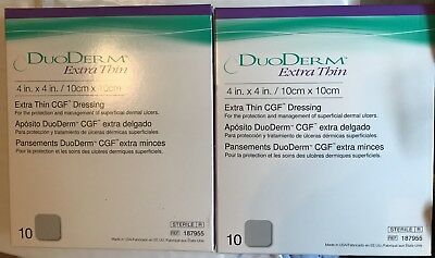 **NEW DUODERM 187955 EXTRA THIN CGF DRESSING 4X4  2 Boxes Of 10 Per Box.