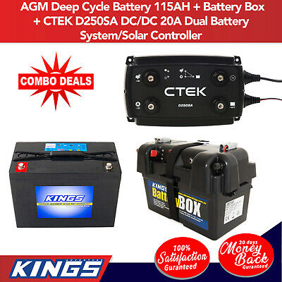 Adventure Kings AGM Deep Cycle Battery 115AH + Battery Box + CTEK D250SA DC/DC 2