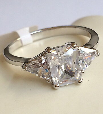 Silver Engagement Ring Princess Cubic Zirconia Plated Size 9 10 Vintage Style