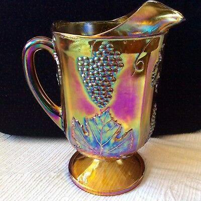 Vintage Iridescent Pitcher 1960s Indiana Large Carnival Glass Orange Grapes NICE