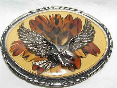 Vintage Handcrafted SSI Diamondback Rattler Golden Eagle Belt Buckle Rattlesnake