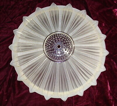 "Art Deco Frosted Glass Sunflower Ceiling Light 14"" Antique Flower Chandelier"