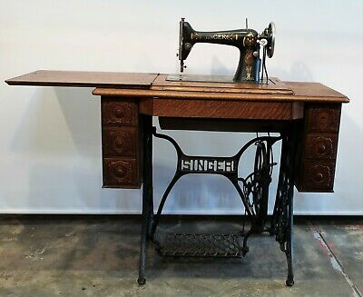 Antique Treadle Singer Sewing Machine Five Drawers