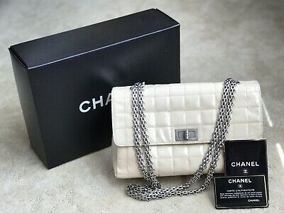 4a882c8288d5 ️CHANEL Ivory Chocolate Bar 2.55 Patent Leather Double Chain Shoulder Bag