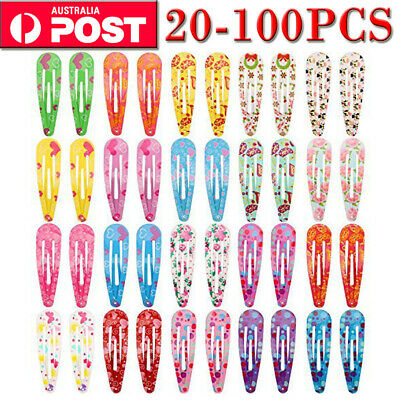 20-100Pcs Wholesale Bulk Girls Baby Kids Hair Clips Snap Slides Close Hairpin
