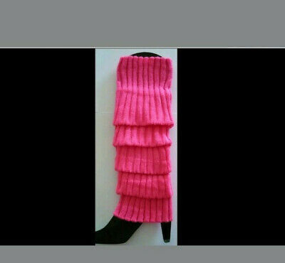 Hot Pink Leg Warmers Disco Winter Knit Dance Party Crochet Legging Socks Costume