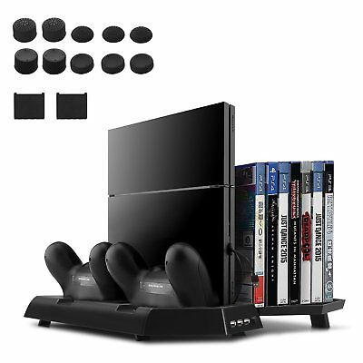 Vertical Stand Dual USB HUB Charger Ports Fan Game Slot For PS4, PS4 Slim, Pro