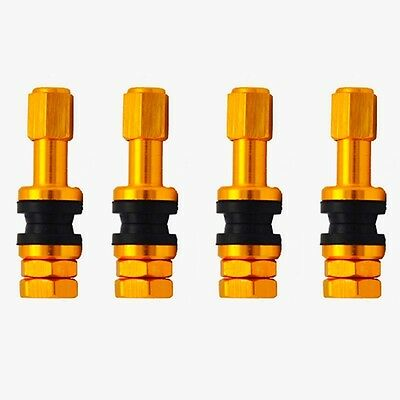 Alloy Bolt-in Tubeless Car Motorcycle Scooter Tyre Valve Stems in Golden 4PCS