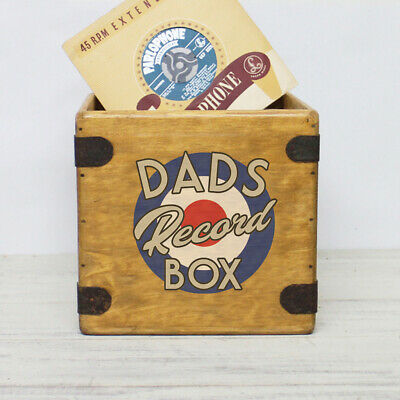 "Dads Record Box 7"" Single Boxes Wooden Vinyl Crate Fathers Day Gift"