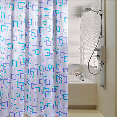 Shower Curtain Bathroom Waterproof Polyester Fabric Random Pattern & Hooks