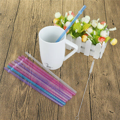 25Pcs Reusable Colorful Hard Plastic Stripe Drinking Straw Clean Wedding Party