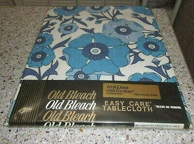 Vintage Retro Old Bleach Irish Rayon Linen Tablecloth Rosie Delphinium 52 x 68