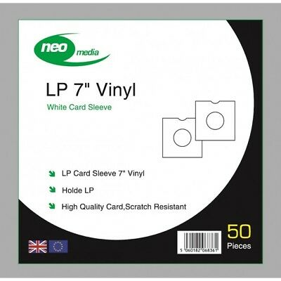 Pack of 100 x White 7 inch LP Record Album Card Sleeves/Covers High Quality