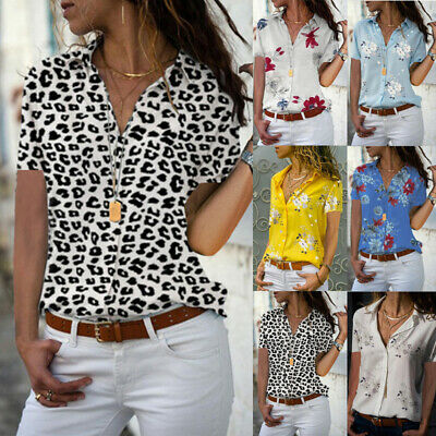 Plus Size Womens Floral Loose Blouse Tops Ladies Button Office OL Work Shirts UK