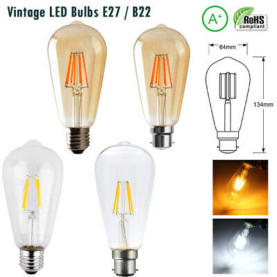 E27 B22 ST64 Vintage Retro Led Edison Antique Industrial Lamp Light Bulb 4/6/8W