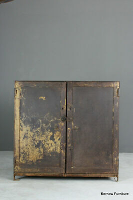 Large Mid Century Industrial Rough Luxe Steel Workshop Cabinet