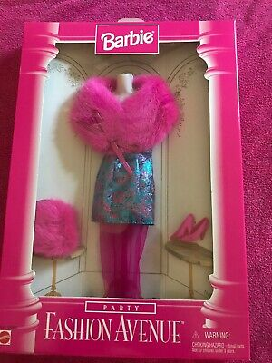 1996 Fashion Avenue Party Barbie Pink Dress Bag and Shoes Mattel 15862