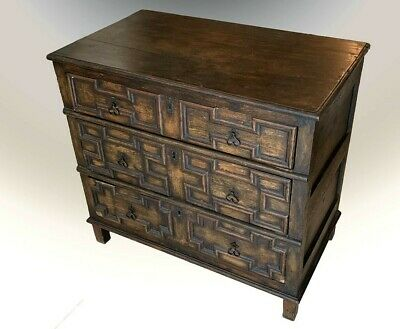 17th Century William and Mary 3 Drawer Chest On Straight Legs