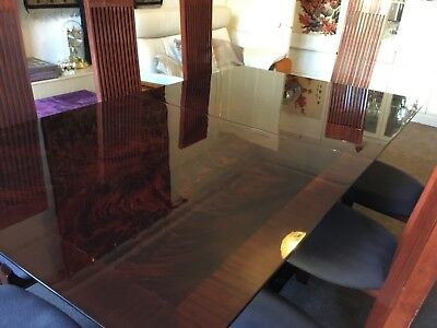 RARE, EX COND KESTERPORT Rosewood Table (extendible) with 8 high backed chairs.