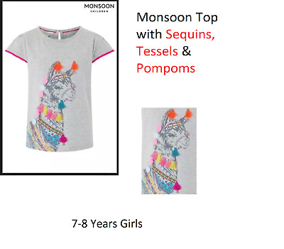BNWT Monsoon Girls Horse Blouse Top Age 7-8 Years Gray Grey Summer
