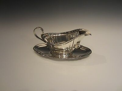 Gorham Sterling Silver Chippendale pattern Gravy Boat and Saucer 939, 940