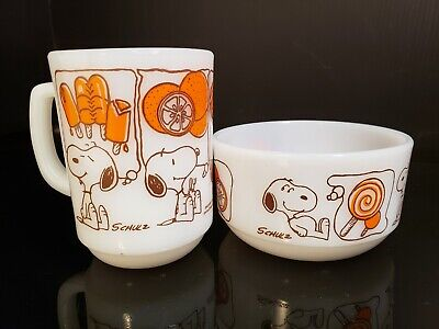 Vintage Fire King / Anchor Hocking  Snoopy  Sweet Dreams Coffee MUG CUP & Bowl