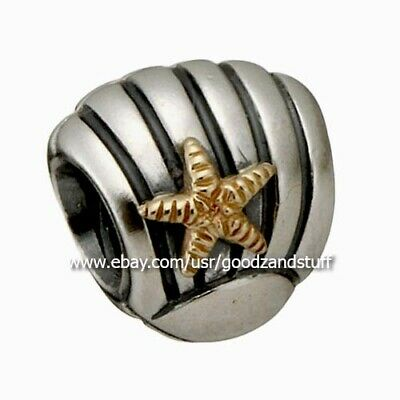 bf5228807 Seashell w/ 14K Gold Starfish Authentic Pandora Sterling Silver Charm 790249