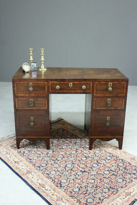 19th Century Twin Pedestal Antique Small Mahogany Writing Desk