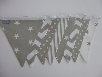Assorted Grey/White Cotton Fabric Bunting 2 M - Baby, Nursery, Shower Gift- NEW