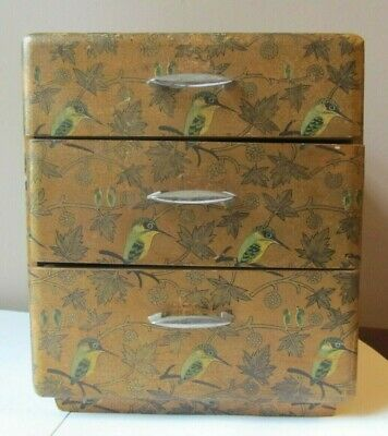 Antique 1920s JAPANESE Lacquer PAINTED Wooden SEWING BOX Birds