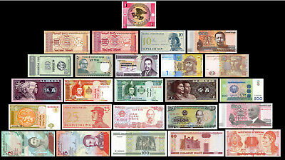25 Pcs of Different Unique World Foreign Banknotes,Currency, Uncirculated Lot