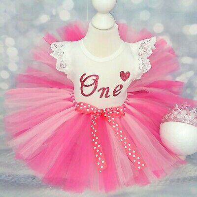 Baby Girl First 1st Birthday Outfit Tutu Cake Smash Photo Shoot Tiara Headband