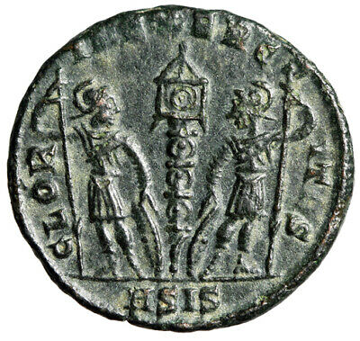 "Constantine I The Great AE16 ""GLORIA EXERCITVS Soldiers"" Siscia RIC 252 Scarce"