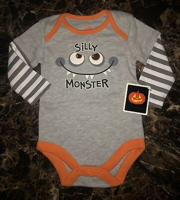 NEW NWT Baby Boys Size 0-3 Months Silly Monster Halloween Creeper Shirt Top