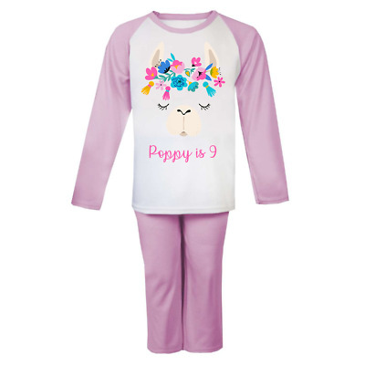 Personalised Llama Head ANY AGE Pyjamas Girls Boys Gifts Cute Pjs Birthday