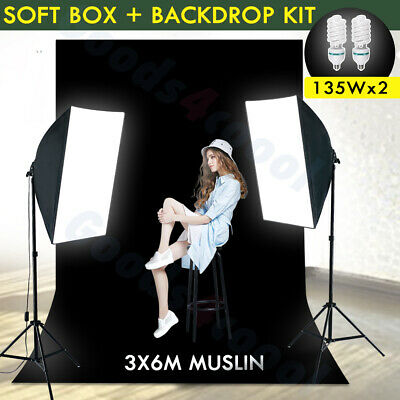 Photo 2x135W Softbox Continuous Lighting Black Muslin Backdrop Background Kit