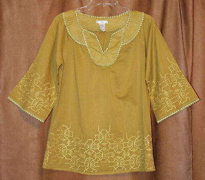 1967683f16389f Esley Mustard Boho Crochet Lace Embroidery 3/4 Sleeve Tunic Top Blouse S