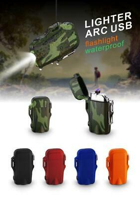 2 in 1 USB Dual Arc Cigarette Lighter Camping Waterproof + LED Flash Light Torch