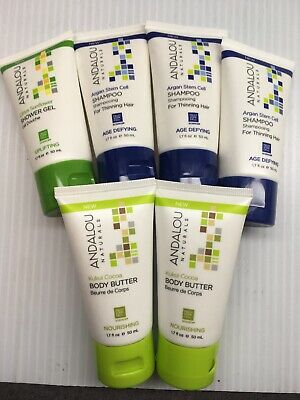 Variety 6 Pack of 1.7 oz Andalou Naturals:  Body Butter, Shower Gel, Shampoo